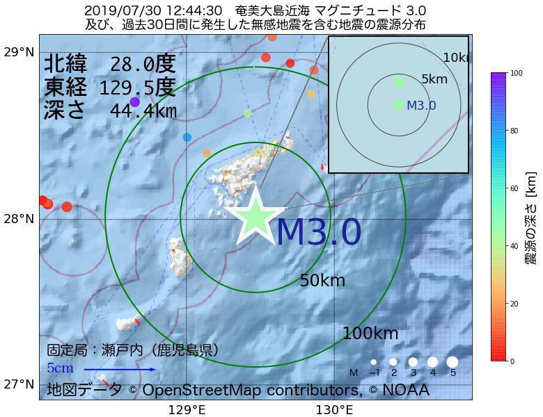 地震震源マップ:2019年07月30日 12時44分 奄美大島近海でM3.0の地震