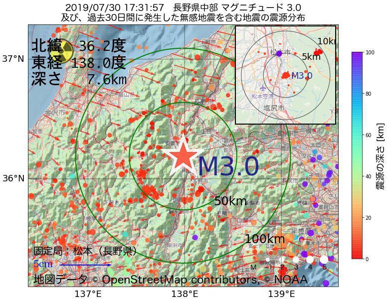地震震源マップ:2019年07月30日 17時31分 長野県中部でM3.0の地震