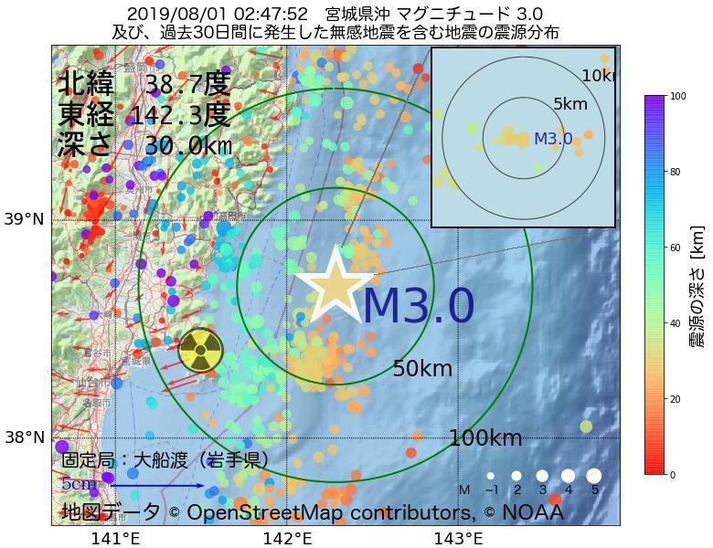 地震震源マップ:2019年08月01日 02時47分 宮城県沖でM3.0の地震