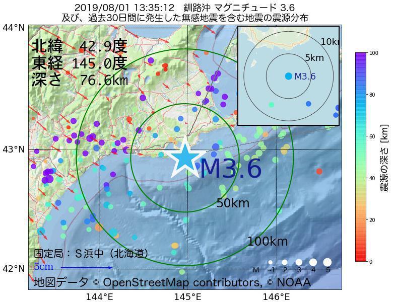 地震震源マップ:2019年08月01日 13時35分 釧路沖でM3.6の地震