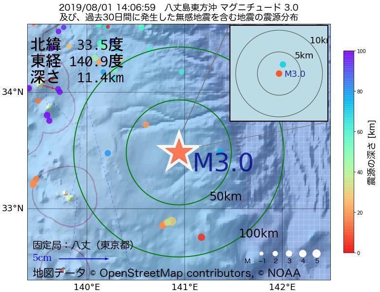 地震震源マップ:2019年08月01日 14時06分 八丈島東方沖でM3.0の地震