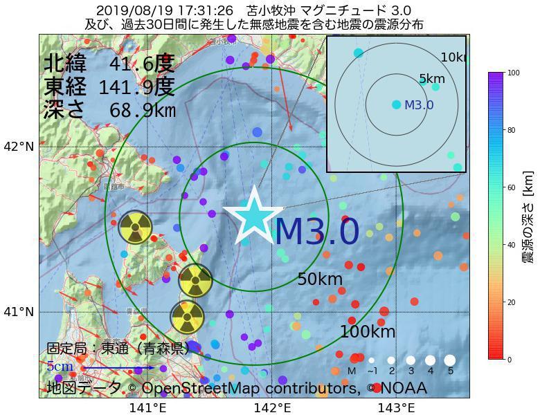 地震震源マップ:2019年08月19日 17時31分 苫小牧沖でM3.0の地震