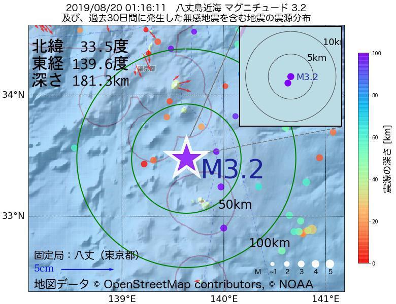 地震震源マップ:2019年08月20日 01時16分 八丈島近海でM3.2の地震