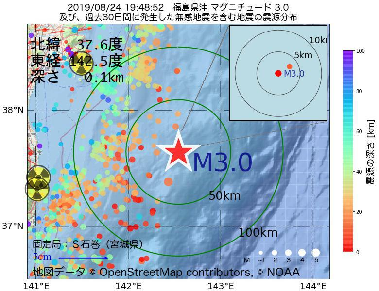 地震震源マップ:2019年08月24日 19時48分 福島県沖でM3.0の地震