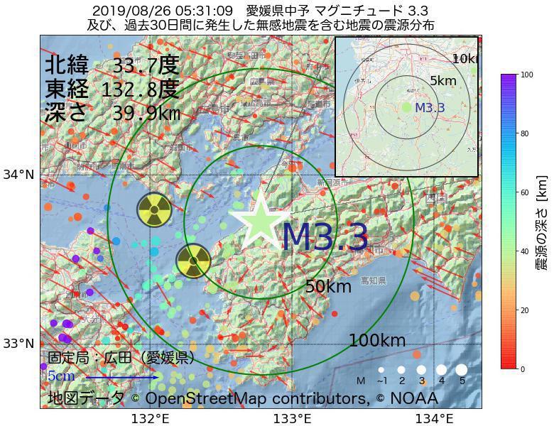 地震震源マップ:2019年08月26日 05時31分 愛媛県中予でM3.3の地震