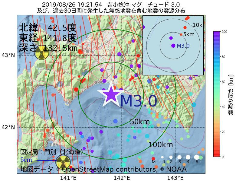 地震震源マップ:2019年08月26日 19時21分 苫小牧沖でM3.0の地震