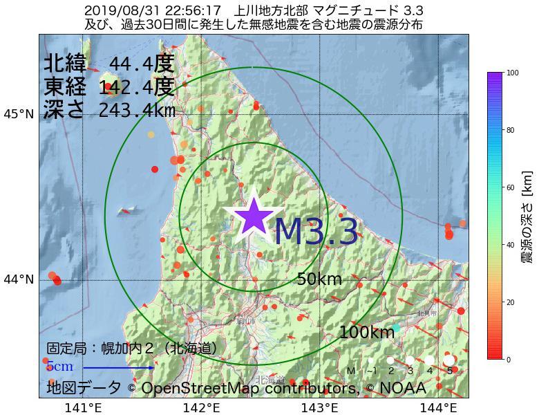 地震震源マップ:2019年08月31日 22時56分 上川地方北部でM3.3の地震