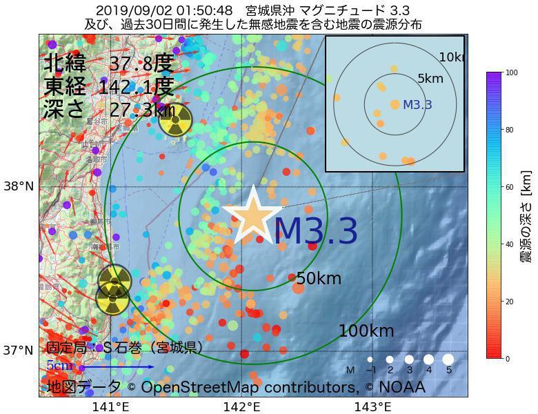 地震震源マップ:2019年09月02日 01時50分 宮城県沖でM3.3の地震