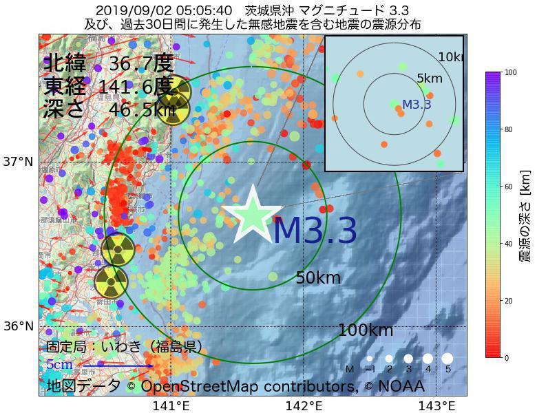 地震震源マップ:2019年09月02日 05時05分 茨城県沖でM3.3の地震