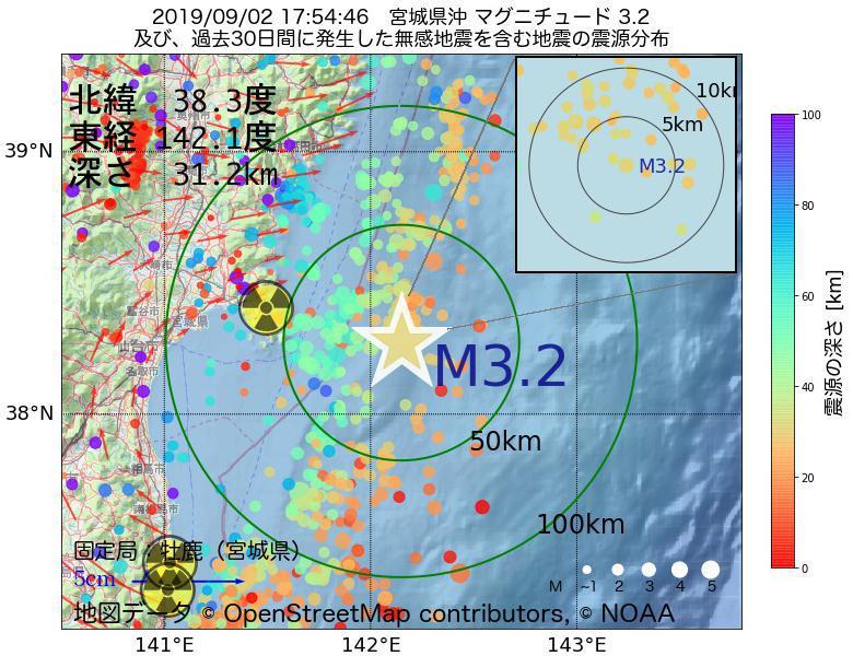 地震震源マップ:2019年09月02日 17時54分 宮城県沖でM3.2の地震