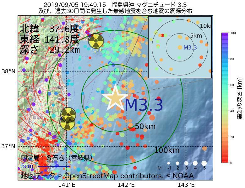 地震震源マップ:2019年09月05日 19時49分 福島県沖でM3.3の地震