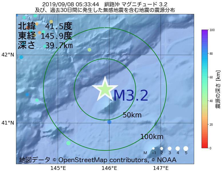 地震震源マップ:2019年09月08日 05時33分 釧路沖でM3.2の地震