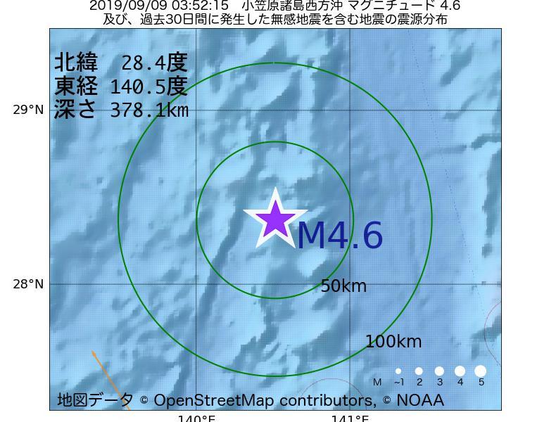 地震震源マップ:2019年09月09日 03時52分 小笠原諸島西方沖でM4.6の地震