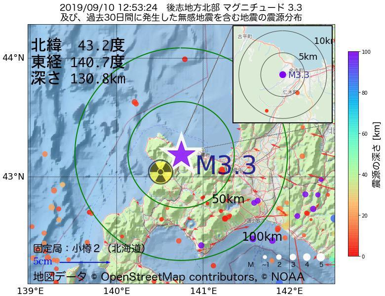 地震震源マップ:2019年09月10日 12時53分 後志地方北部でM3.3の地震