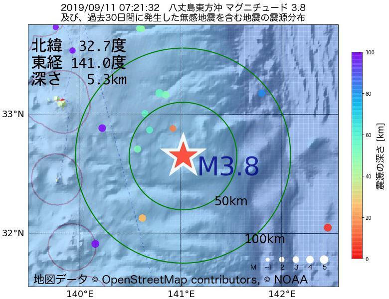 地震震源マップ:2019年09月11日 07時21分 八丈島東方沖でM3.8の地震