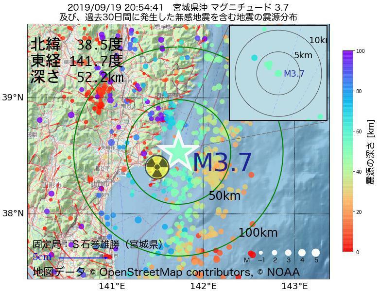 地震震源マップ:2019年09月19日 20時54分 宮城県沖でM3.7の地震