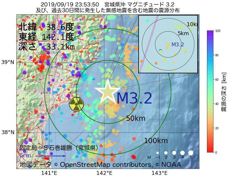 地震震源マップ:2019年09月19日 23時53分 宮城県沖でM3.2の地震