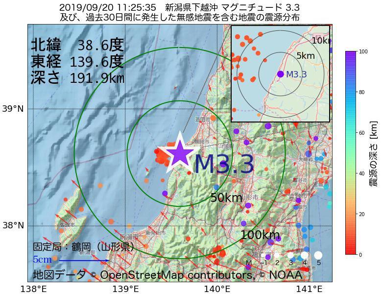 地震震源マップ:2019年09月20日 11時25分 新潟県下越沖でM3.3の地震