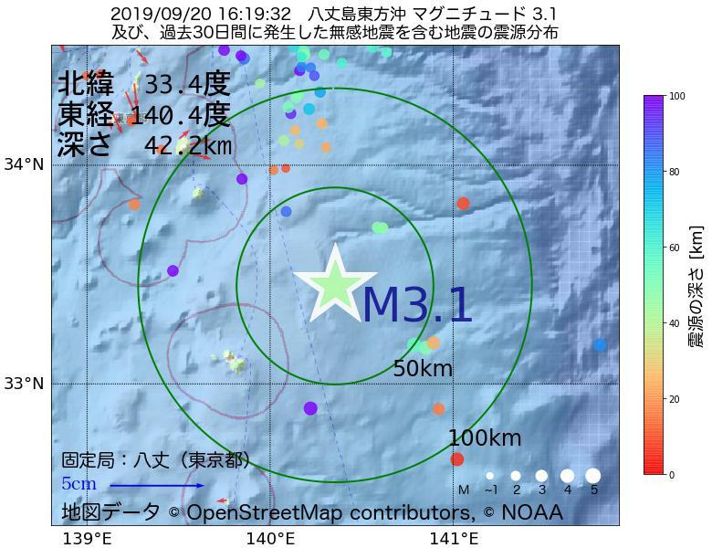 地震震源マップ:2019年09月20日 16時19分 八丈島東方沖でM3.1の地震
