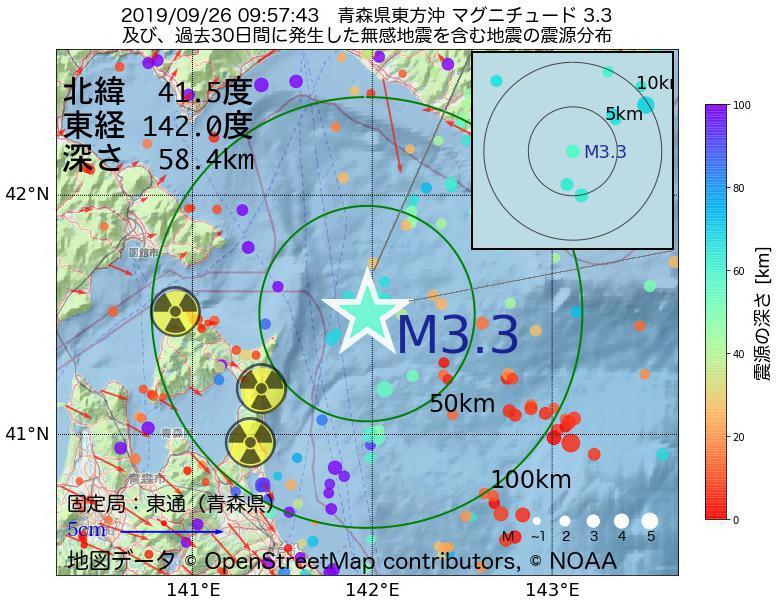 地震震源マップ:2019年09月26日 09時57分 青森県東方沖でM3.3の地震