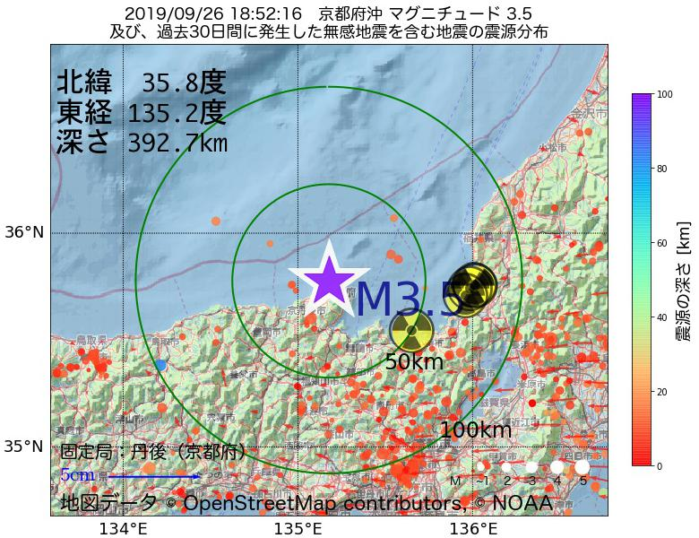 地震震源マップ:2019年09月26日 18時52分 京都府沖でM3.5の地震