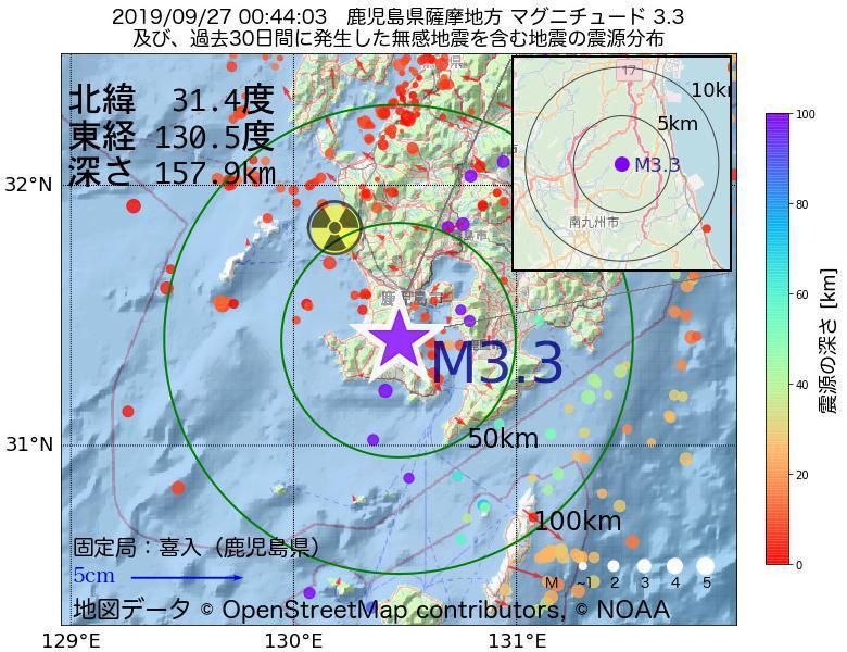 地震震源マップ:2019年09月27日 00時44分 鹿児島県薩摩地方でM3.3の地震