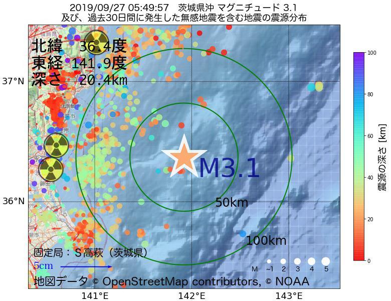 地震震源マップ:2019年09月27日 05時49分 茨城県沖でM3.1の地震