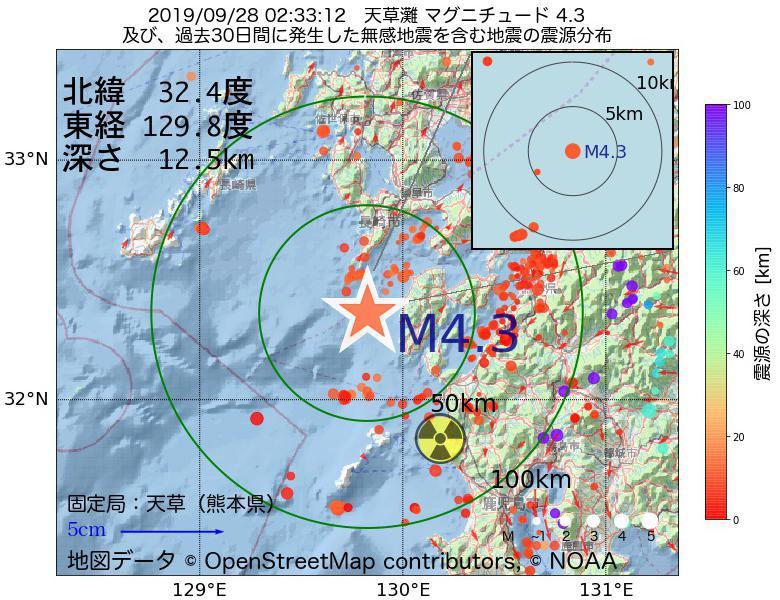 地震震源マップ:2019年09月28日 02時33分 天草灘でM4.3の地震
