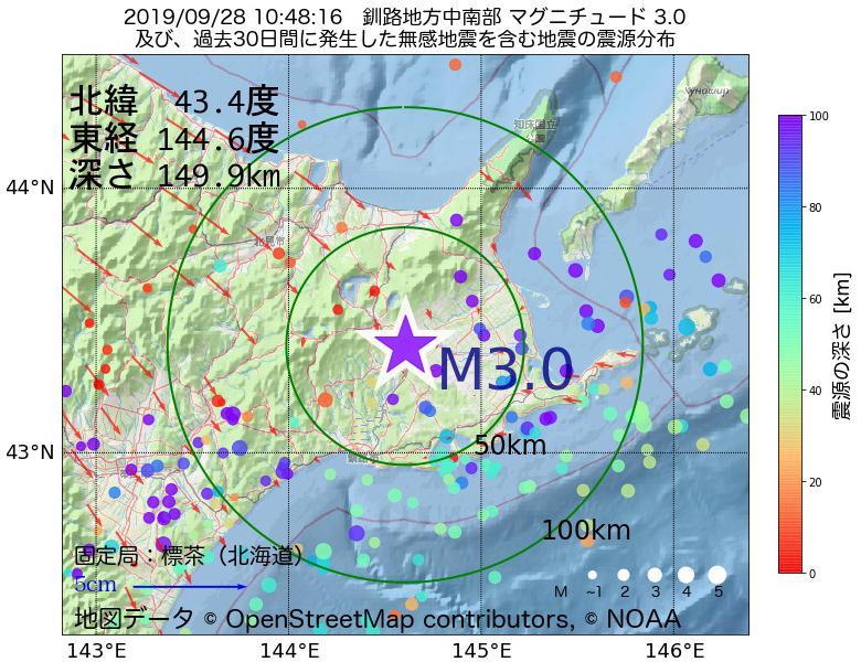 地震震源マップ:2019年09月28日 10時48分 釧路地方中南部でM3.0の地震