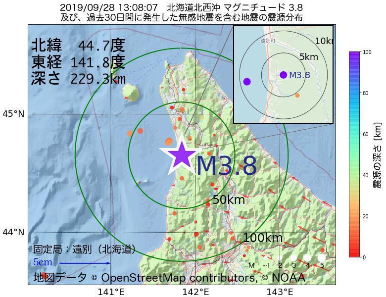 地震震源マップ:2019年09月28日 13時08分 北海道北西沖でM3.8の地震