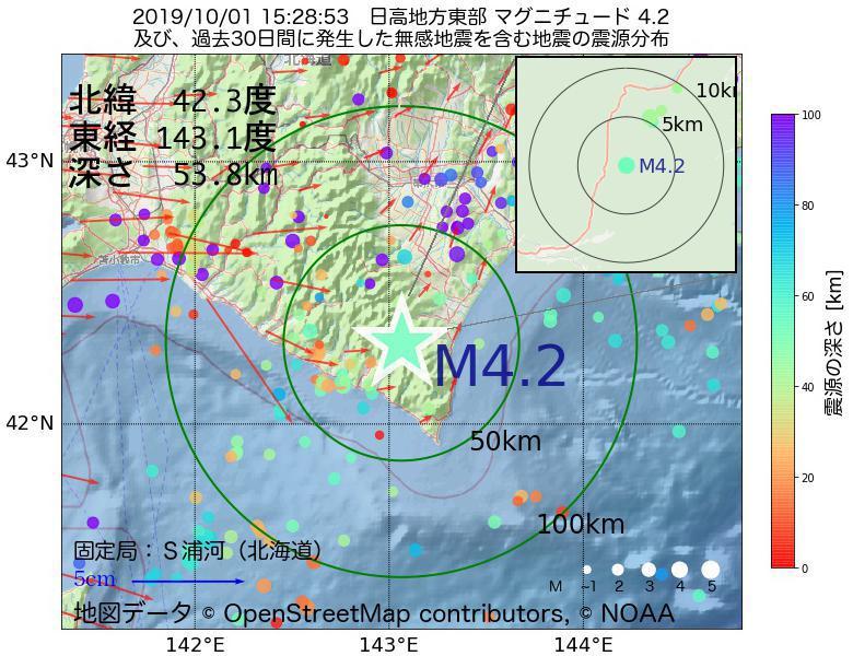 地震震源マップ:2019年10月01日 15時28分 日高地方東部でM4.2の地震