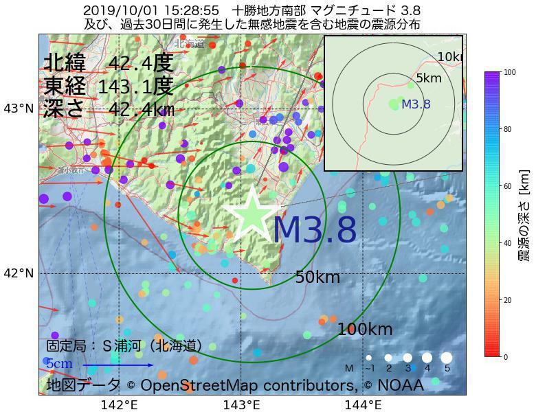 地震震源マップ:2019年10月01日 15時28分 十勝地方南部でM3.8の地震