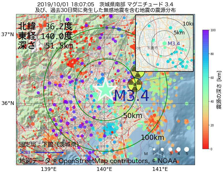 地震震源マップ:2019年10月01日 18時07分 茨城県南部でM3.4の地震