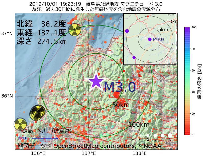 地震震源マップ:2019年10月01日 19時23分 岐阜県飛騨地方でM3.0の地震