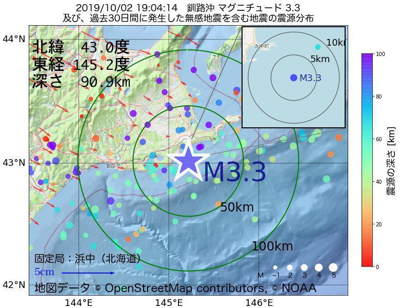 地震震源マップ:2019年10月02日 19時04分 釧路沖でM3.3の地震