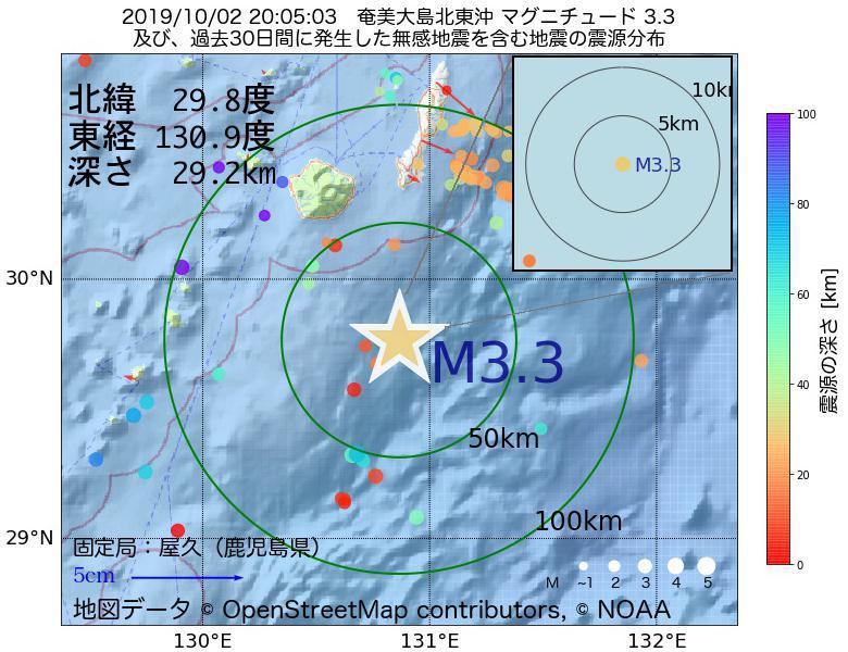 地震震源マップ:2019年10月02日 20時05分 奄美大島北東沖でM3.3の地震