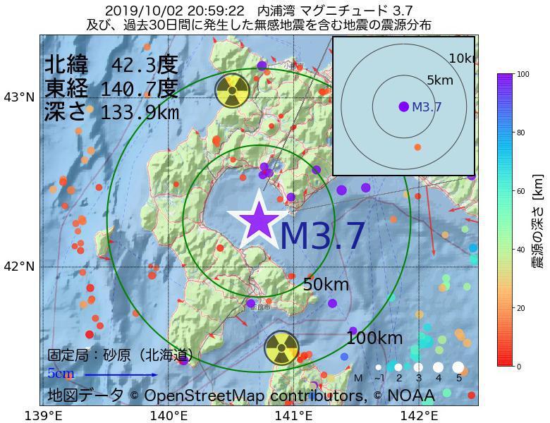 地震震源マップ:2019年10月02日 20時59分 内浦湾でM3.7の地震