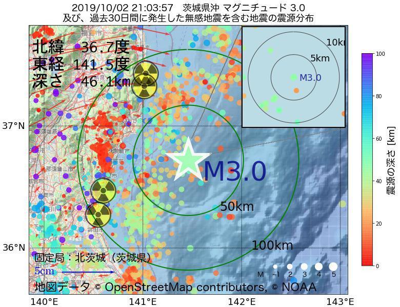 地震震源マップ:2019年10月02日 21時03分 茨城県沖でM3.0の地震