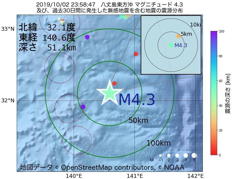 地震震源マップ:2019年10月02日 23時58分 八丈島東方沖でM4.3の地震