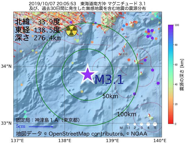 地震震源マップ:2019年10月07日 20時05分 東海道南方沖でM3.1の地震