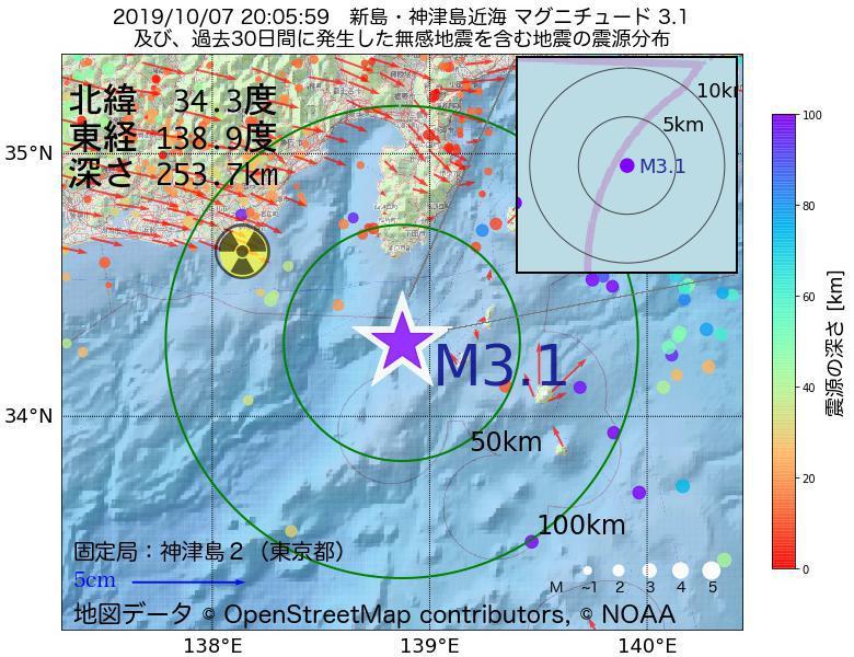 地震震源マップ:2019年10月07日 20時05分 新島・神津島近海でM3.1の地震