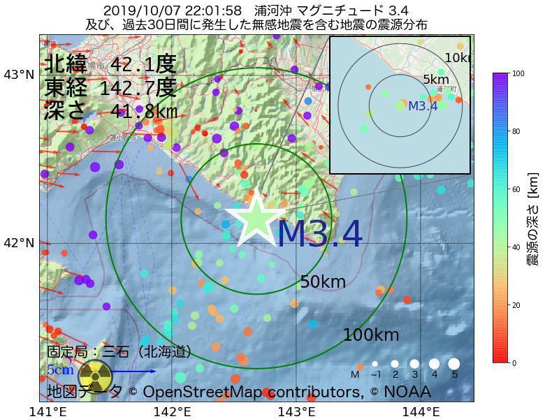 地震震源マップ:2019年10月07日 22時01分 浦河沖でM3.4の地震