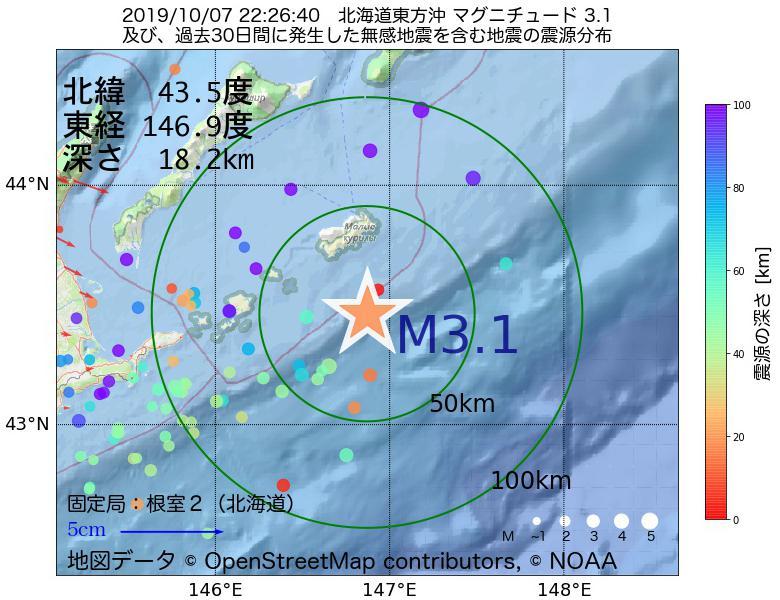 地震震源マップ:2019年10月07日 22時26分 北海道東方沖でM3.1の地震