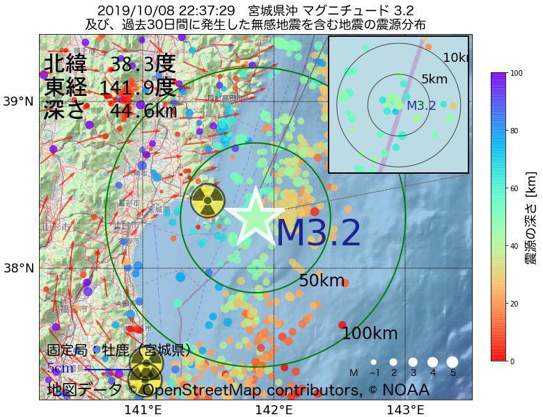 地震震源マップ:2019年10月08日 22時37分 宮城県沖でM3.2の地震
