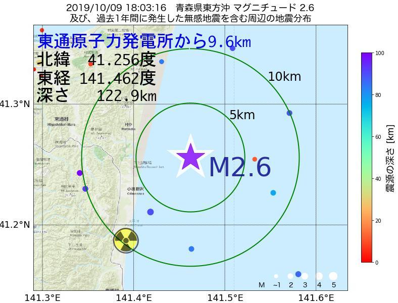 地震震源マップ:東通原子力発電所から9.6km地点でM2.6の地震が発生しました