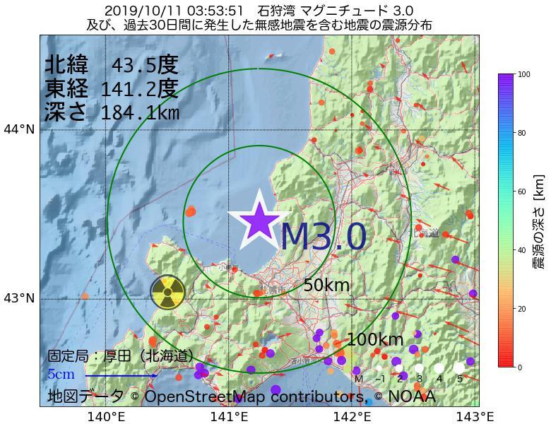 地震震源マップ:2019年10月11日 03時53分 石狩湾でM3.0の地震