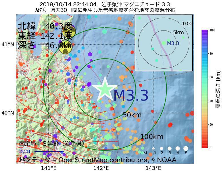 地震震源マップ:2019年10月14日 22時44分 岩手県沖でM3.3の地震