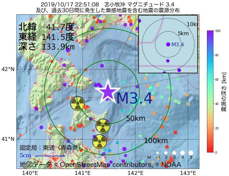 地震震源マップ:2019年10月17日 22時51分 苫小牧沖でM3.4の地震