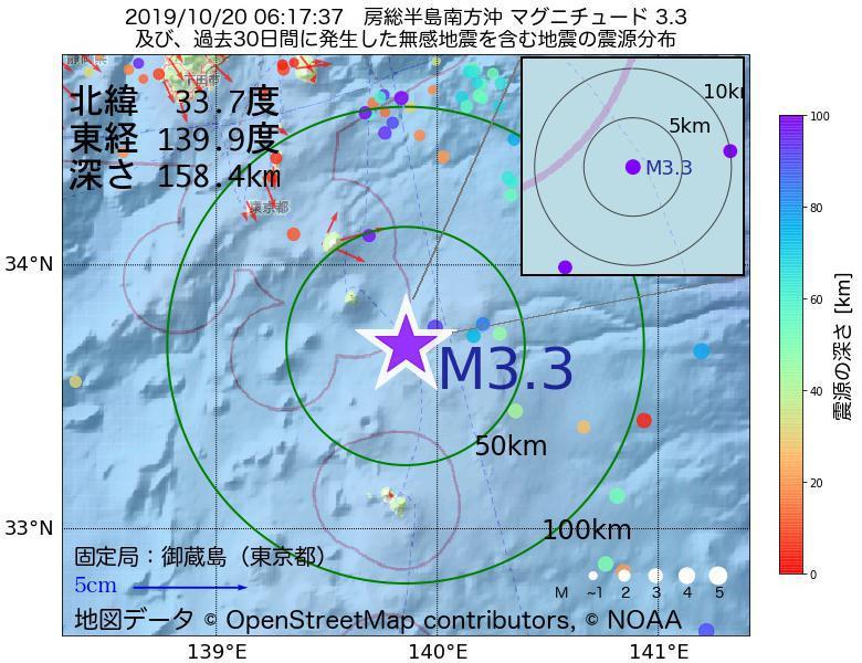 地震震源マップ:2019年10月20日 06時17分 房総半島南方沖でM3.3の地震