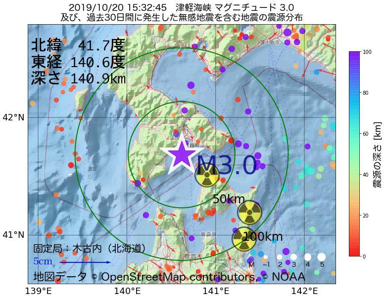 地震震源マップ:2019年10月20日 15時32分 津軽海峡でM3.0の地震
